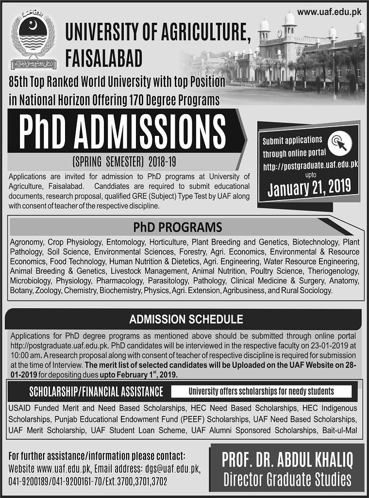 University of Agriculture, Faisalabad, Pakistan -> Postgraduate