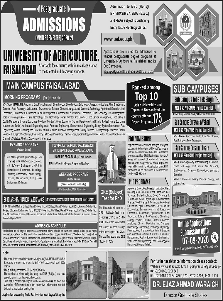 University Of Agriculture Faisalabad Pakistan Postgraduate Admissions