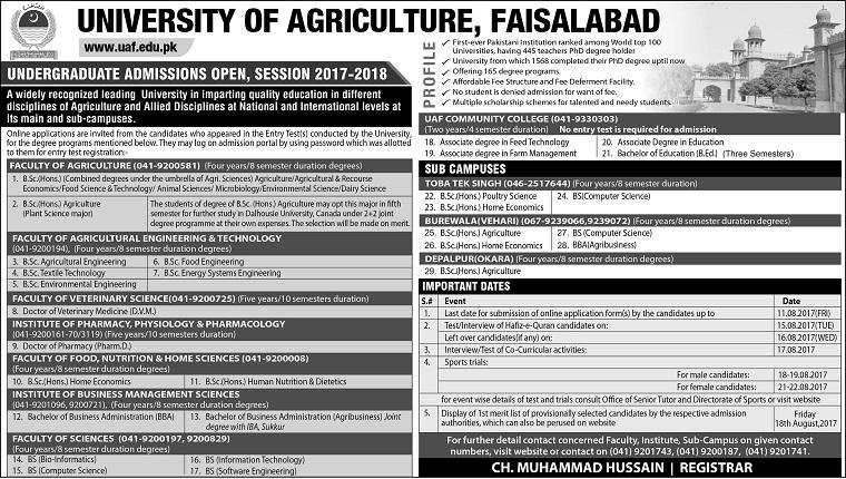 University of Agriculture, Faisalabad, Pakistan -> Undergraduate