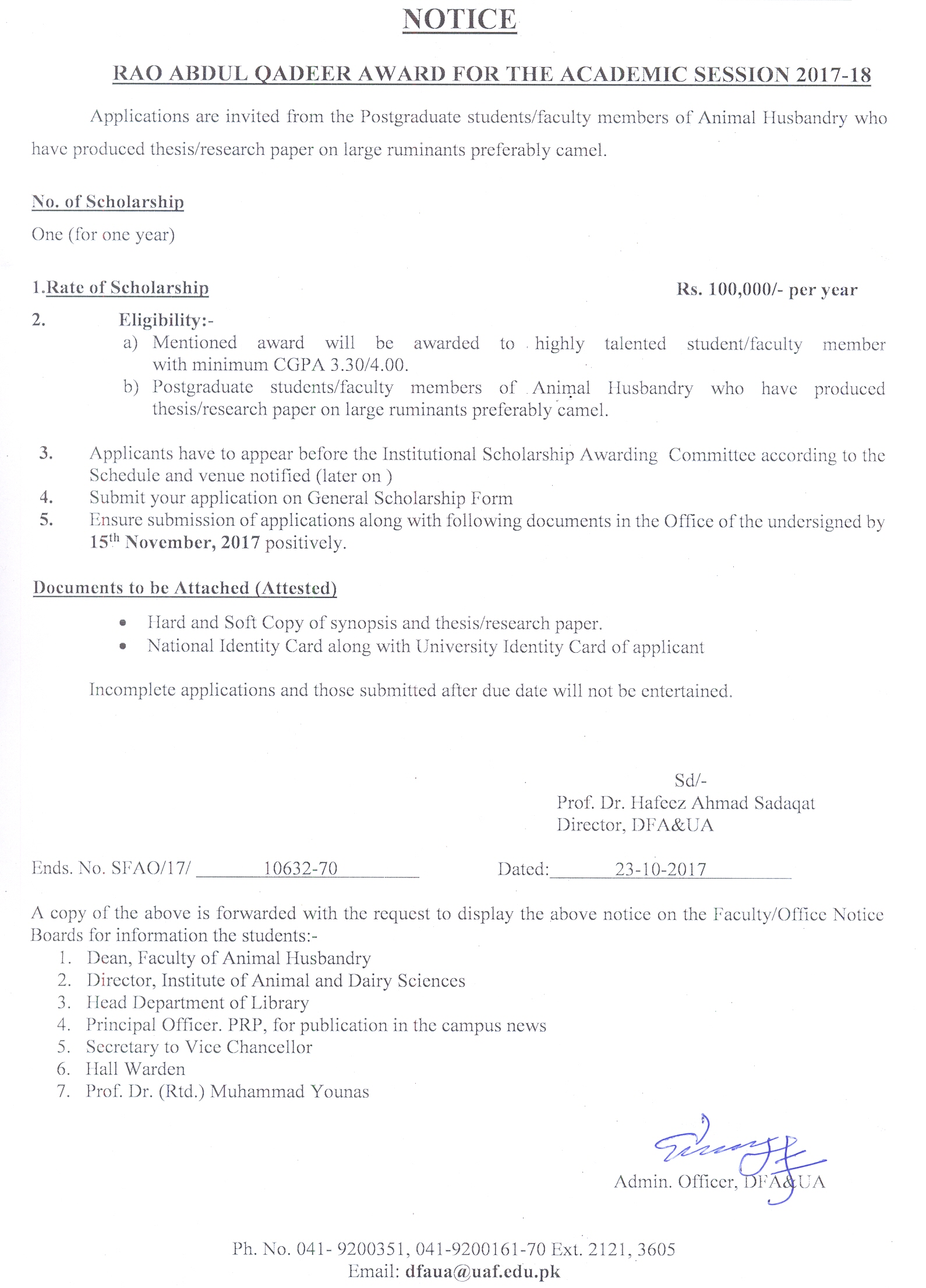 University Of Agriculture Faisalabad Pakistan Directorate Of