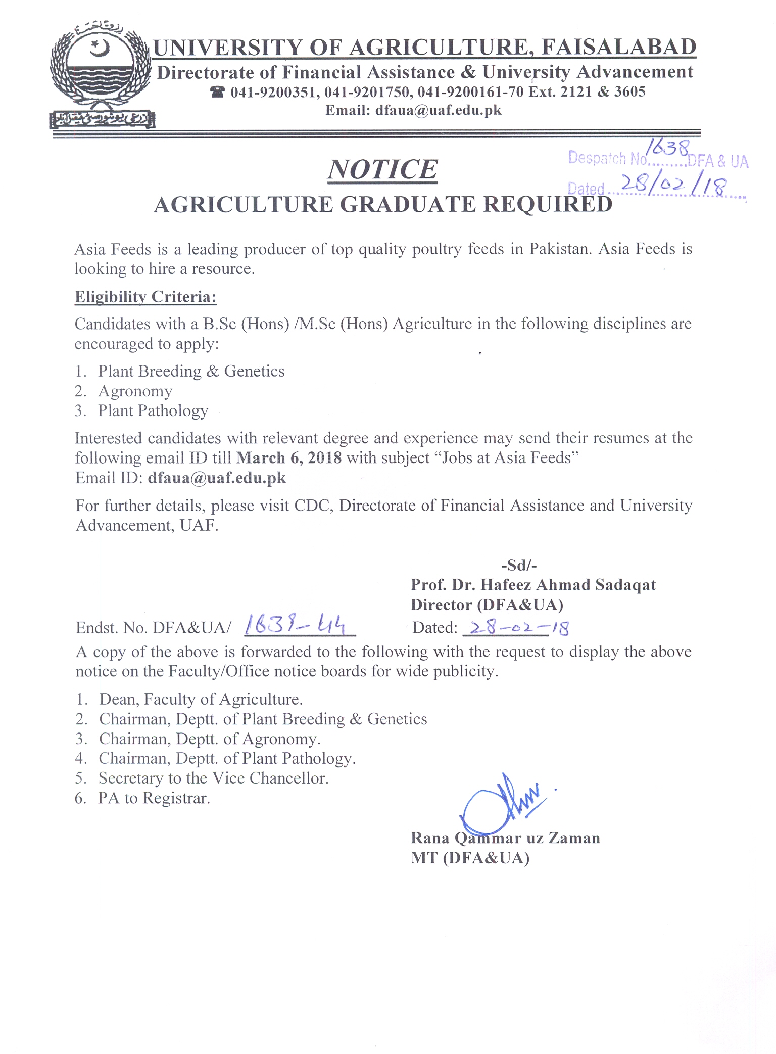 University of Agriculture, Faisalabad, Pakistan -> Job